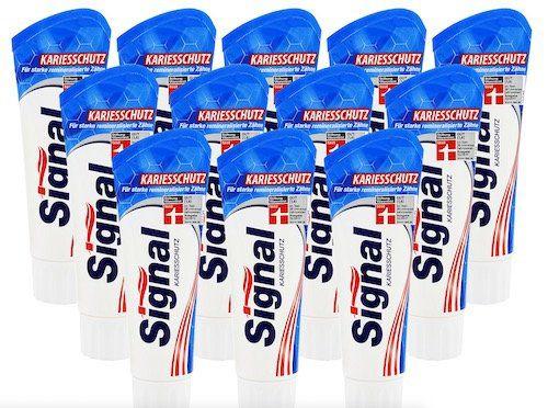 12er Pack Signal Kariesschutz Zahnpasta (je 75ml) für 8,99€ (statt 13€)