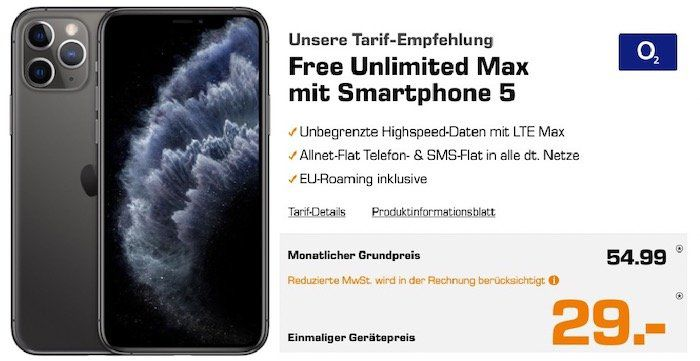 Apple iPhone 11 Pro für 29€ + o2 Flat mit unlimited LTE max für 54,99€mtl.