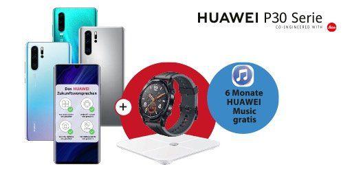 Knaller! 🔥 Huawei P30 Pro + Watch GT + Waage + Mini Speaker für 49€ + o2 Flat mit 20GB LTE für 24,99€ mtl.