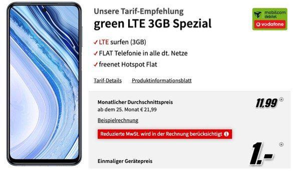 Xiaomi Redmi Note 9 Pro 128GB für 1€ mit Vodafone Allnet Flat mit 3GB LTE für 11,99€ mtl.