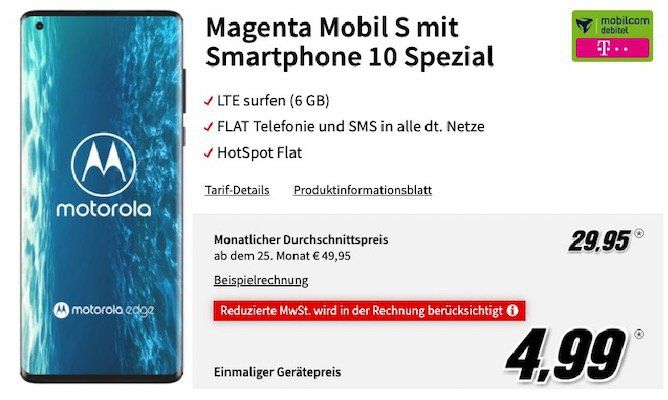 Motorola Edge 5G für 4,99€ + Telekom Flat mit 6GB LTE inkl. StreamOn + VoLTE für 29,95€mtl.