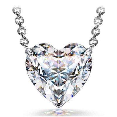 FANCI Damen Halskette aus Silber mit 1,4 Karat Herz Zirkonia von Swarovski für 9,99€ (statt 30€)