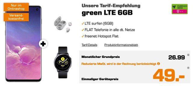 Vorbei! Samsung Galaxy S10 + Watch Active + Galaxy Buds für 49€ mit Telekom Allnet Flat inkl. 6GB LTE für 26,99€