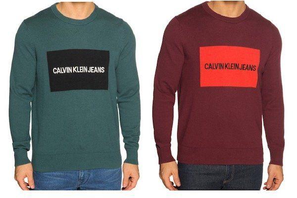 Calvin Klein Pullover mit Logostitching in Grün oder Bordeaux für 35,92€ (statt 55€)