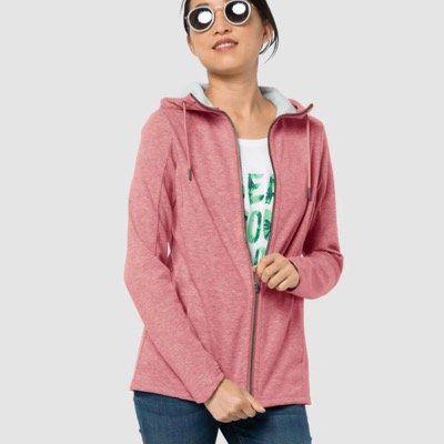 Jack Wolfskin Damen Riverland Hooded Jacket in Rose Quartz für 51,64€ (statt 66€)
