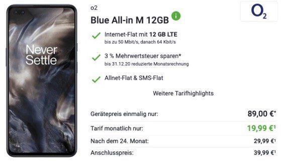 OnePlus 8 Nord mit 128GB für 89€ mit O2 Blue All In M mit 12GB LTE für 19,99€ mtl.