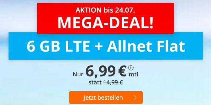 o2 Allnet Flat mit 6GB LTE für 6,99€ mtl. + keine Laufzeit