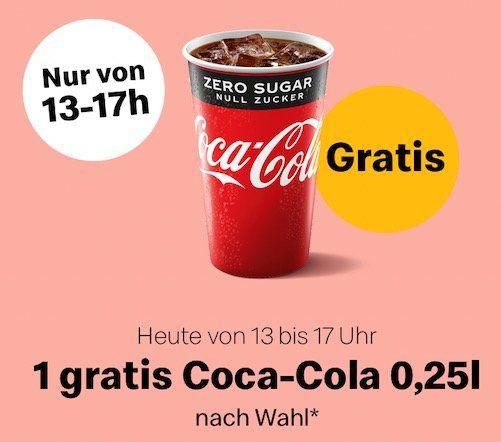 McDonald's: gratis 250ml Coca Cola (auch Zero) bis 17 Uhr