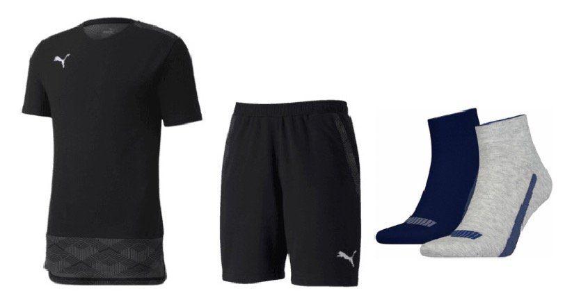 Puma Freizeit Outfit (T Shirt, Shorts, 4 Paar Socken) für 39,95€ (statt 46€)
