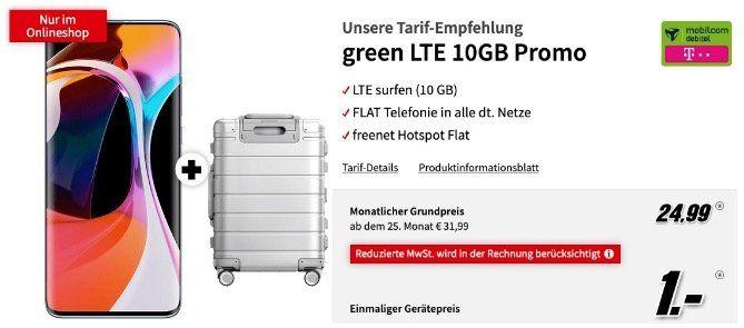 Vorbei! Xiaomi Mi 10 + Metal Carry On Trolley für 1€ mit Telekom Allnet Flatrate mit 10GB LTE für 24,99€ mtl.