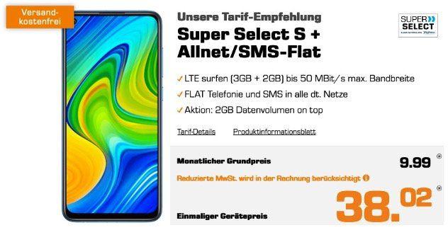 Xiaomi Redmi Note 9 mit 64GB für 38,02€ + o2 Flat mit 5GB LTE für 9,99€ mtl.