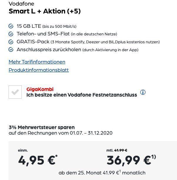 iPhone SE (2020) 64GB + AirPods 2 mit kabellosem Ladecase für 4,95€ + Vodafone Flat mit 15GB LTE für 36,99€ mtl.