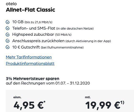 OnePlus Nord 128GB für 4,95€ + Vodafone Flat von otelo mit 10GB LTE für 19,99€ mtl.