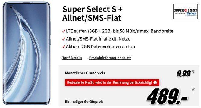 Xiaomi Mi 10 Pro 256GB für 489€ (Vergleich 954€) mit O2 Allnet Flat mit 5GB LTE für 9,99€ mtl.
