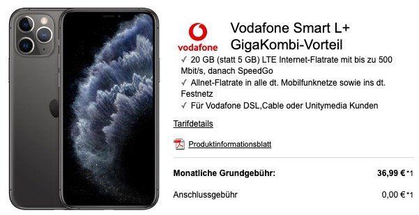 iPhone 11 Pro 64GB für 299€ + Vodafone Flat mit 15GB LTE für 36,99€ mtl.