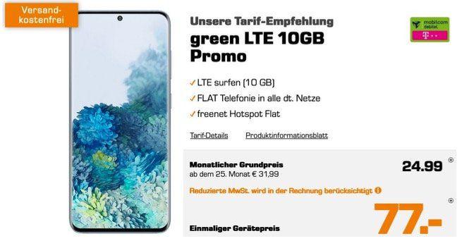 Pricedrop: Samsung Galaxy S20 128GB für 8,77€ + Vodafone Allnet Flat mit 10GB LTE für 24,99€ mtl.