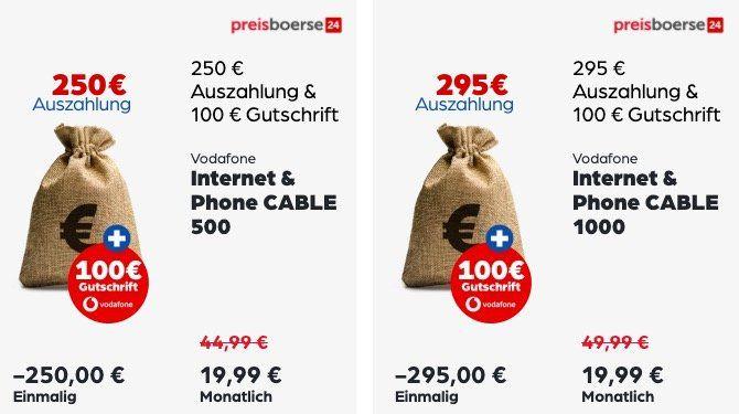Vodafone Cable Angebote mit Prämien und Auszahlung   z.B. Cable 250 für 34,99€ mtl. + 320€ Auszahlung