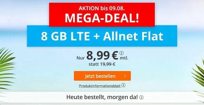 Sim.de Megadeal! o2 Allnet Flatrate mit 8GB LTE für 8,99€ mtl. + auch mit monatlicher Laufzeit
