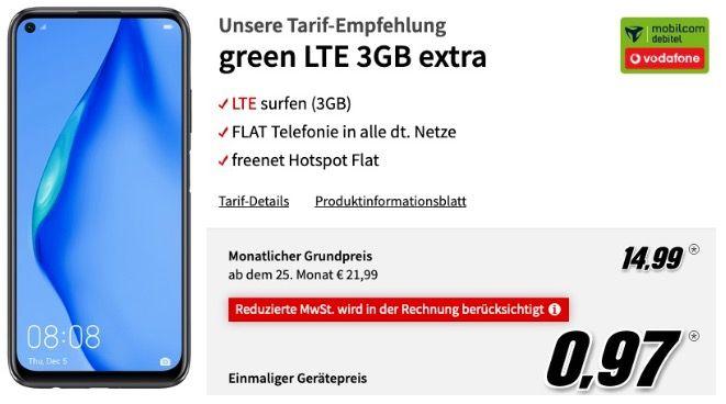 Huawei P40 lite für 0,97€ + Vodafone Flat mit 3GB LTE für 14,99€ mtl.
