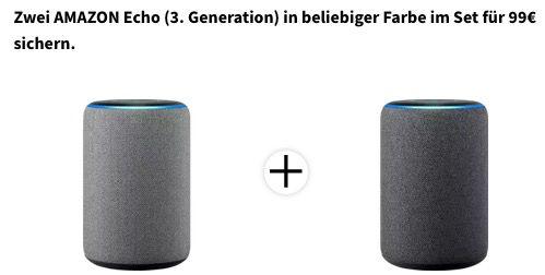 2x Amazon Echo (3. Generation) Lautsprecher für 99€ (statt 144€)