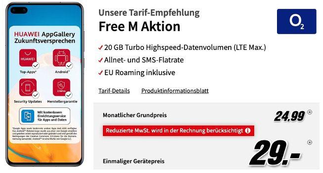 Huawei P40 128GB für 29€ + o2 Allnet Flatrate mit 20GB LTE für 24,99€ mtl.