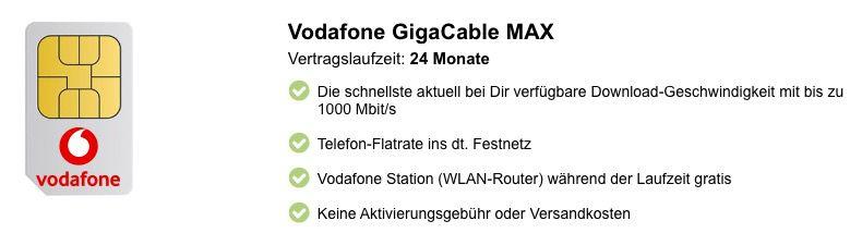 Vodafone CableMax Gigabit dank 240€ Cashback für nur eff. 28,99€ mtl.