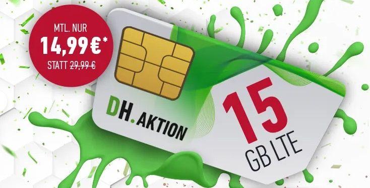🔥 o2 AllNet & SMS Flat + 15GB LTE (max 225 Mbit/s) für 14,99€ mtl.   monatlich kündbar