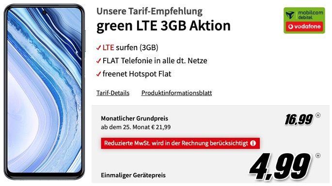Xiaomi Redmi Note 9 Pro 128GB für 4,99€ mit Vodafone Allnet Flat mit 3GB LTE für 16,99€ mtl.