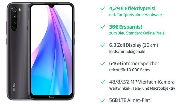 Xiaomi Redmi Note 8T für 17,86€ + o2 Flat von Blau mit 5GB LTE für 9,99€mtl.