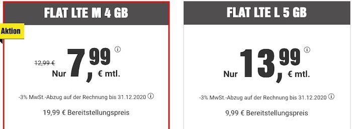 Allnet Flat mit 4GB LTE für 7,99€ mtl. + BILDplus (Wert 7,99€ mtl.) gratis!