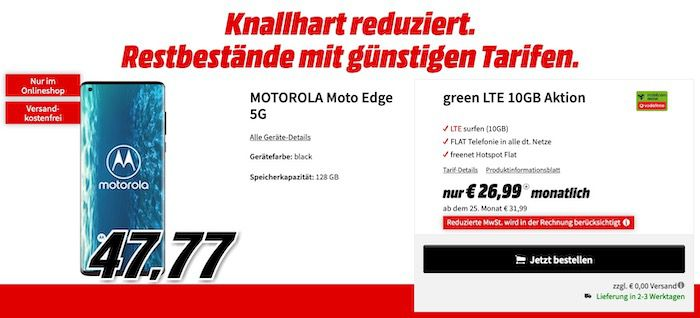 Motorola Moto Edge 5G 128GB  für 47,77€ + Vodafone AllNet Flat 10GB LTE für 26,99€ mtl.