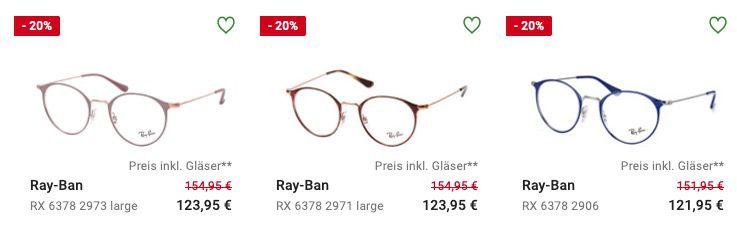 Marken Brillen und Sonnenbrillen mit Sehstärke im Sale mit 15% Extra Rabatt bei Mister Spex   z.B. Ray Ban oder Burberry