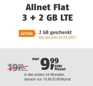 Telekom Flat mit 5GB LTE für 9,99€ mtl. oder Vodafone Flat mit 10GB/20GB für 14,99€/19,99€ mtl.