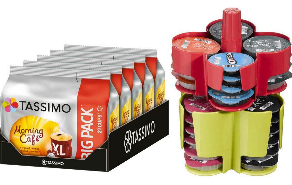 TASSIMO Kapseln Morning Café XL Big Pack 5 x 21 T Discs + 1 KOZIOL Kapselhalter für 19,95€ (statt 27€)