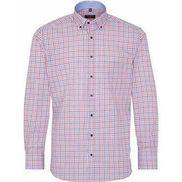 Eterna Langarmhemd Popeline in Rot Blau Kariert für 33,90€ (statt 41€)