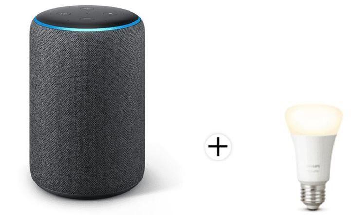 Amazon Echo Plus (2. Gen) Lautsprecher + Hue White E27 Lampe für 73,10€ (statt 95€)