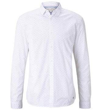 Tom Tailor Popeline Hemd mit Musterung in Weiß für 14,95€ (statt 25€)
