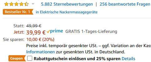 Naipo elektrisches Nackenmassagegerät mit Wärmefunktion & 3D Rotation für 26,79€ (statt 50€)