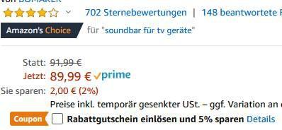 Bomaker ODINE I 2.0 Soundbar mit BT 5.0 für 58,49€ (statt 90€)
