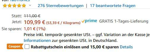 TaoTronics Massagepistole mit 10 Geschwindigkeiten & 6 Aufsätze für 85,99€ (statt 110€)