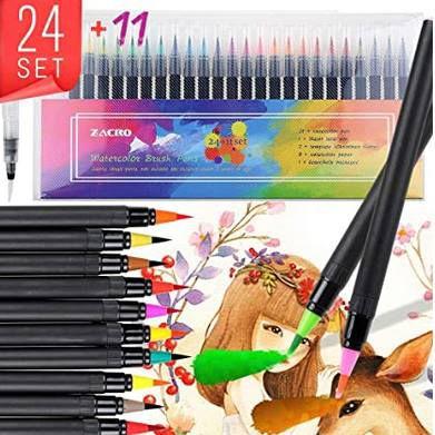 24 Zacro Pinselstifte Set inkl. Zeichenschablonen & Papier für 10,19€ (statt 17€)