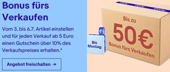 Bis zu 50€ Bonus bei eBay durch Verkäufe