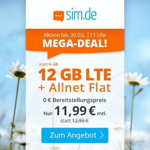 Sim.de: o2 Flat mit 12GB LTE für 11,99€mtl. + keine Laufzeit möglich