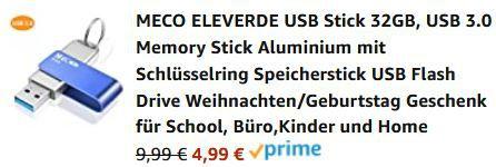 MECO ELEVERDE USB3.0 Stick mit 32GB aus Aluminium mit Schlüsselring für 4,99€ (statt 10€)   Prime
