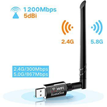 SoataSoa USB WLAN Adapter mit bis zu 1200 Mbit/s für 9,99€   Primer
