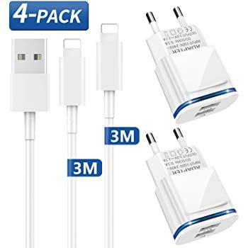 4er Pack LUOATIP Ladegerät mit Ladekabel (3m) mit Lightning Anschluss für 7,99€ (statt 16€)