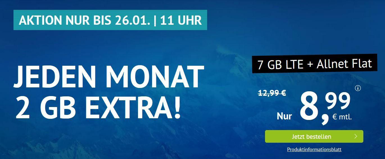 o2 AllNet & SMS Flat + 7GB LTE (max 50MBit/s) für 8,99€ mtl. (optional mtl. Kündbar)