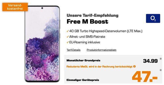 Samsung Galaxy S20+ für 47€ mit O2 Allnet Flat mit 40GB LTE für 34,99€ mtl.