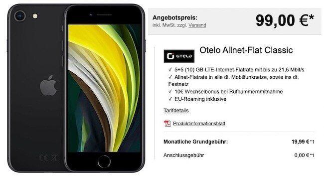 Apple iPhone SE (2020) 64GB für 99€ + Vodafone Flat von otelo mit 10GB LTE für 19,99€ mtl.