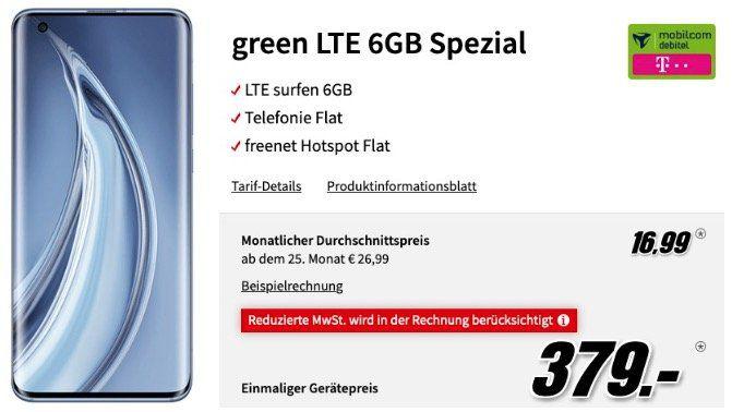 Xiaomi Mi 10 Pro 256GB für 379€ mit Telekom Allnet Flat inkl. 6GB LTE für 16,99€ mtl.   mit Gewinn!